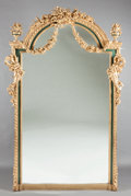 Decorative Arts, French, A PAIR OF LOUIS XVI-STYLE PAINTED AND PARCEL GILT MIRRORS. 20thcentury. 98 x 57 x 7 inches (248.9 x 144.8 x 17.8 cm). ... (Total:2 Items)