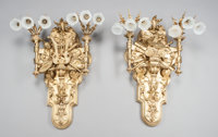 A PAIR OF MONUMENTAL FRENCH RÉGENCE-STYLE GILT BRONZE SIX-LIGHT WALL SCONCES WITH GLASS SHADES 20th century 38-...
