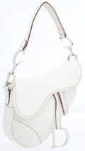 Luxury Accessories:Bags, Christian Dior White Leather Saddle Bag with Silver D Charm. ...