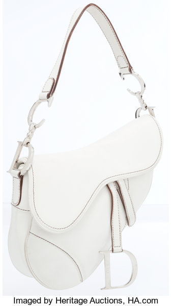 Christian Dior White Leather Saddle Bag with Silver D Charm ... 1f08fefd56592