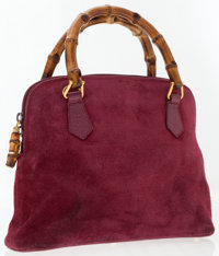 Gucci Magenta Suede Small Bag with Bamboo Handles