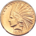 Indian Eagles, 1907 $10 Rolled Edge -- Repaired -- NGC Details. AU...