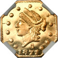 California Fractional Gold, 1871 25C Liberty Octagonal 25 Cents, BG-767, R.3, MS66 Deep MirrorProoflike NGC....