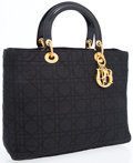Luxury Accessories:Bags, Christian Dior Black Cannage Microfiber Lady D Bag with PatentLeather Handles. ...