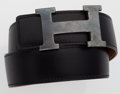 Luxury Accessories:Accessories, Hermes 65cm Black & Gold Calf Box Leather Reversible H Beltwith Palladium Hardware. ...