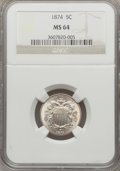 Shield Nickels: , 1874 5C MS64 NGC. NGC Census: (48/28). PCGS Population (63/37).Mintage: 3,538,000. Numismedia Wsl. Price for problem free ...