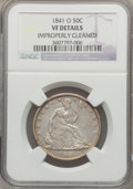Seated Half Dollars: , 1841-O 50C -- Improperly Cleaned -- NGC Details. VF. NGC Census:(2/94). PCGS Population (7/136). Mintage: 401,000. Numisme...