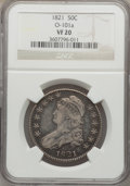 Bust Half Dollars, 1821 50C VF20 NGC. O-101a. NGC Census: (10/565). PCGS Population(7/666). Mintage: 1,305,797. Numismedia Wsl. Price for pr...