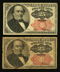 Fractional Currency:Fifth Issue, Fr. 1308 25¢ Fifth Issue Very Fine;. Fr. 1309 25¢ Fifth Issue VeryGood.. ... (Total: 2 notes)