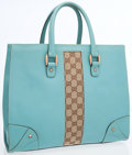 Luxury Accessories:Bags, Gucci Light Blue Leather & Classic Monogram Canvas Tote Bag....