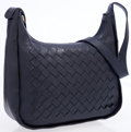 Luxury Accessories:Bags, Bottega Veneta Navy Leather Shoulder Bag with Intrecciato Accent....