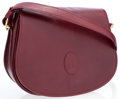 Luxury Accessories:Bags, Cartier Burgundy Grained Leather Crossbody Bag. ...