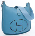Luxury Accessories:Bags, Hermes Blue Jean Clemence Leather Evelyne II Crossbody Bag. ...