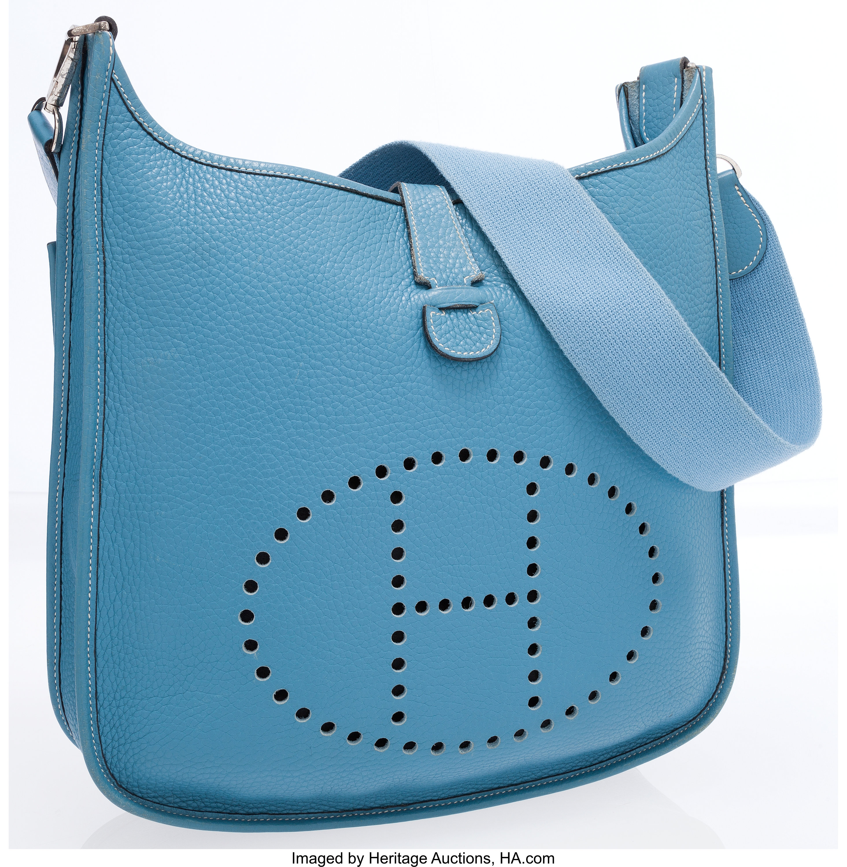 78caf6d31 Hermes Blue Jean Clemence Leather Evelyne II Crossbody Bag. ... | Lot  #76012 | Heritage Auctions