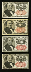 Fractional Currency:Fifth Issue, Fr. 1308 25¢ Fifth Issue Very Fine;. Three Fr. 1309 25¢ Fifth IssueNotes Very Fine or Better.. ... (Total: 4 notes)