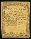 Colonial Notes:Continental Congress Issues, Continental Currency February 17, 1776 $2/3 Very Fine-ExtremelyFine.. ...