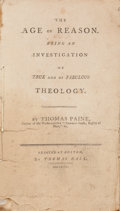 Books:Americana & American History, Thomas Paine. The Age of Reason. Being an Investigation of Trueand of Fabulous Theology. Boston: Thomas Hall, 1...