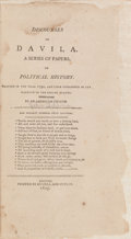 Books:Americana & American History, [John Adams]. Discourses on Davila. A Series of Papers onPolitical History. Boston: Printed by Russell and Cutl...