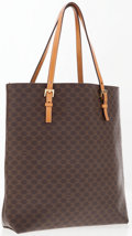 Luxury Accessories:Bags, Celine Brown Classic Monogram Canvas Small Tote Bag. ...