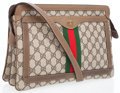 Luxury Accessories:Bags, Gucci Light Brown Waxed Classic Monogram Canvas Crossbody Bag with Web Stripe. ...
