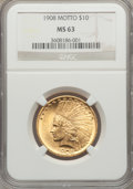 Indian Eagles, 1908 $10 Motto MS63 NGC....