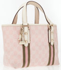 Luxury Accessories:Bags, Gucci Pink & White Classic Monogram Canvas Small Tote Bag withLight Pink & Army Green Web Stripes. ...