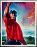 "Golf Collectibles:Art, Tiger Woods Signed ""Tiger's Roar"" Upper Deck Authenticated Giclee...."
