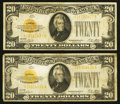 Small Size:Gold Certificates, Fr. 2402 $20 1928 Gold Certificates. Two Examples. Fine.. ... (Total: 2 notes)