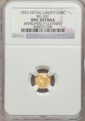 California Fractional Gold, 1853 50C Peacock Reverse 50 Cents, BG-302, Low R.4 -- ImproperlyCleaned -- NGC Details. Unc....