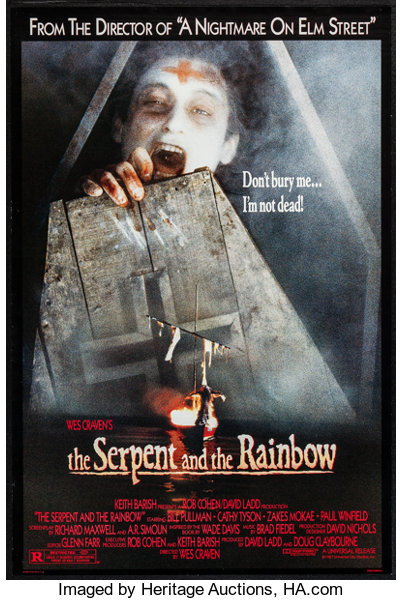 The serpent and the rainbow vintage horror movie poster