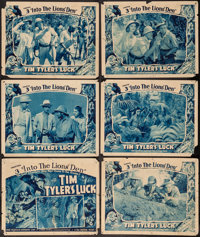"""Tim Tyler's Luck (Universal, 1937). Title Lobby Card & Lobby Cards (5) (11"""" X 14"""") Chapter 3 --""""Into..."""