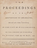 Books:Americana & American History, [Continental Congress President Cyrus Griffin]. The Proceedings of the Convention of Delegates, Held at the Capitol, In ...