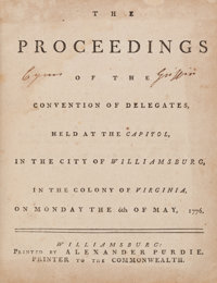 [Continental Congress President Cyrus Griffin]. The Proceedings of the Convention of Delegates, Held at the Cap