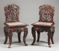 Asian:Chinese, A PAIR OF CHINESE CARVED TEAK SIDE CHAIRS WITH MARBLE INSET SEATS.Circa 1900. 41 x 21-1/2 x 17-1/2 inches (104.1 x 54.6 x 4...(Total: 2 Items)