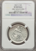 Seated Half Dollars: , 1869-S 50C -- Obv Scratched -- NGC Details. First Strike XF. NGC Census: (7/37). PCGS Population (9/51). Mintage: 656,000. ...