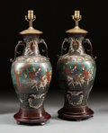 Asian:Chinese, A PAIR OF CHINESE CLOISONNÉ VASES MOUNTED AS LAMPS . 20th century.28-1/2 inches high (72.4 cm). ... (Total: 2 Items)