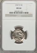 Buffalo Nickels: , 1937-D 5C MS66 NGC. NGC Census: (1874/89). PCGS Population(1658/86). Mintage: 17,826,000. Numismedia Wsl. Price for proble...
