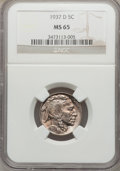 Buffalo Nickels: , 1937-D 5C MS65 NGC. NGC Census: (1347/1963). PCGS Population(3718/1744). Mintage: 17,826,000. Numismedia Wsl. Price for pr...