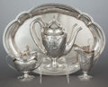 Silver Holloware, American:Coffee Pots, A THREE PIECE BARBOUR SILVER CO. SILVER COFFEE SERVICE WITHSILVER-PLATED TRAY . Barbour Silver Co., Hartford, Connecticut, ...(Total: 4 Items)
