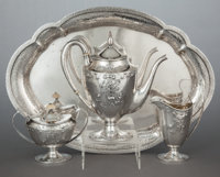 A THREE PIECE BARBOUR SILVER CO. SILVER COFFEE SERVICE WITH SILVER-PLATED TRAY Barbour Silver Co., Hartford, Conn