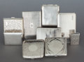 Silver Smalls:Cigarette Cases, A GROUP OF EIGHT SILVER CIGARETTE CASES AND A SILVER LIGHTER.Various makers, 20th century. Marks: various marks. 5-1/4 inch...(Total: 9 Items)