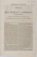 Books:Americana & American History, [Slave State vs. Free State]. Thomas L. Anderson. Admission ofKansas. Speech of Hon. Thomas L. Anderson of Missouri in ...