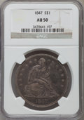 Seated Dollars, 1847 $1 AU50 NGC....