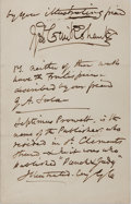 Autographs:Artists, George Cruikshank Autograph Note Signed. Nov. 18th, 1874. Two smallpages on integral leaves of one octavo leaf. On sta...