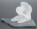 Art Glass, A FROSTED GLASS FIGURE ON SLATE BASE. 20th century. 8 x 10 x 13inches (20.3 x 25.4 x 33.0 cm). ...