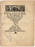 Books:Pamphlets & Tracts, [Jewish Literature]. Paulus Ricius. Pauli RicciPhilosophica. [N.p.], [ca. 1514]. Twelvemo. String-bound. Mo...