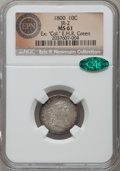 """Early Dimes, 1800 10C MS61 NGC. CAC. JR-2, R.5. Ex: """"Col."""" E.H.R. Green. Onlytwo die varieties of 1800 dimes are known, and JR-2 is..."""