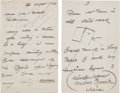 Autographs:Artists, Winslow Homer Autograph Illustrated Letter Thrice Signed....(Total: 2 Items)
