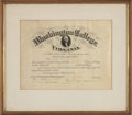 Autographs:Military Figures, Robert E. Lee Washington College Diploma Signed...