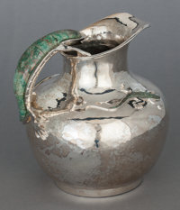 AN EMILIA CASTILLO MEXICAN SILVER-PLATED AND TURQUOISE WATER PITCHER 20th century Marks: T085, Emilia Castil